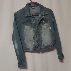 Jou Jou Distressed Denim Jacket,  Jr's sz Large